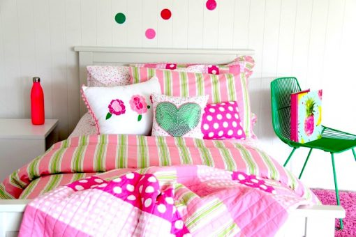 Emma quilt cover, comforter and Green Sequin Heart and Rose cushions