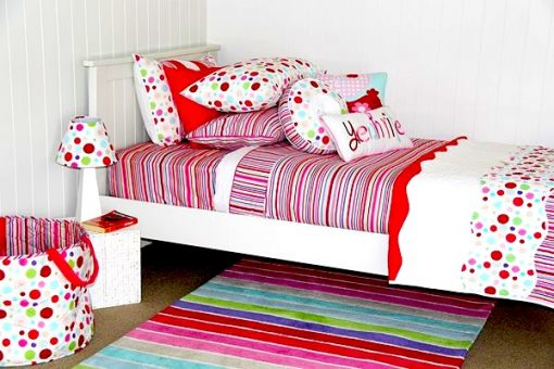 Lucy Stripe quilt cover, comforter, stripe rug, lampshade and girls cushions