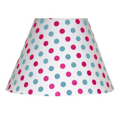 White with blue and pink spot Charlotte Lampshade