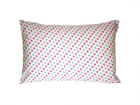 Charlotte crisp white pillowcase with pink and blue spots