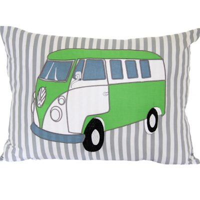 Grey & white striped cushion with lime green & blue combi van