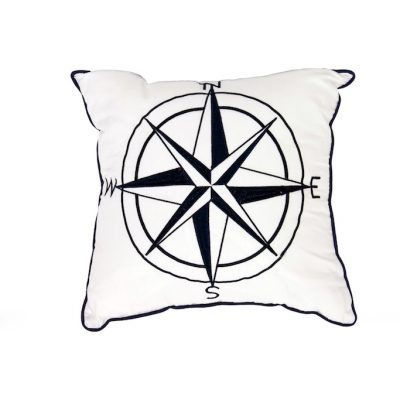 Square crisp white cushion with navy blue trim and embroidered compass