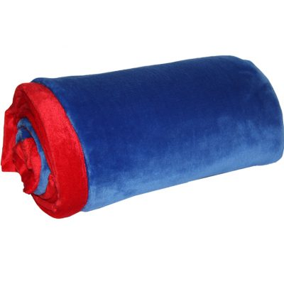 Blue coral fleece throw with red trim