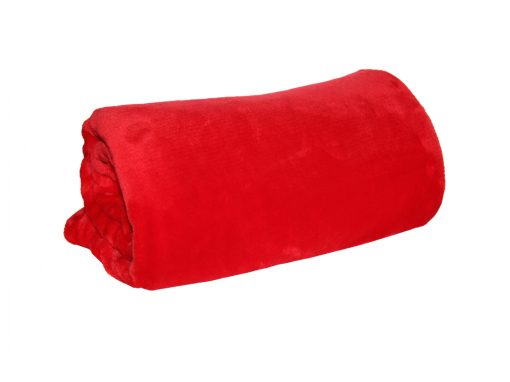 Red coral fleece throw