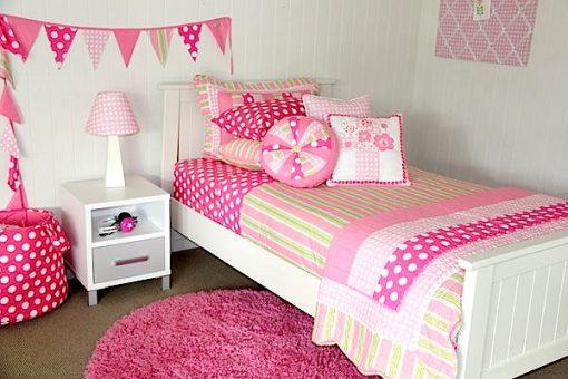 Emma quilt cover, comforter, sheet set, pink floor rug & bunting