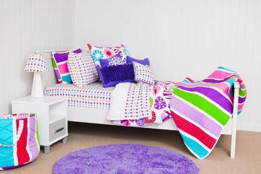 Lou Lou quilt cover, comforter, sheeting & star lampshade, groovy grape rug and girls cushions