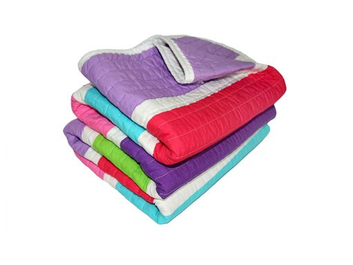 Quilted, purple, red, aqua, pink & white striped Comforter