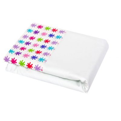 WhiteTop Sheet with red, purple, pink and blue star cuff