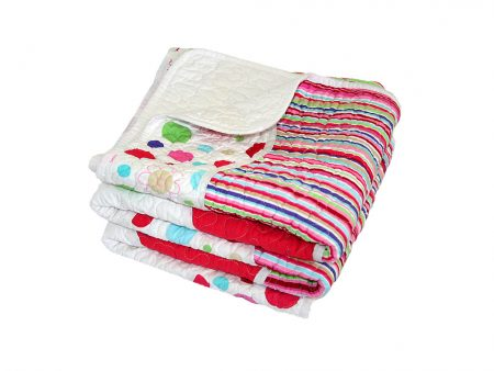 Lucy candy coloured stripe and spot quilted Comforter