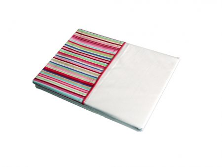 Lucy crisp white top sheet with candy stripe cuff