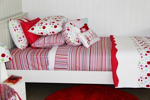 Lucy stripe quilt cover, comforter & Regal Red rug