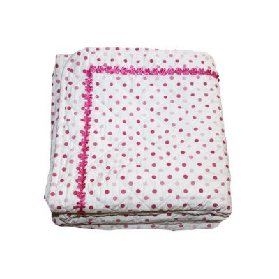 Millie pink & white spot quilted comforter with pink floral ric rac