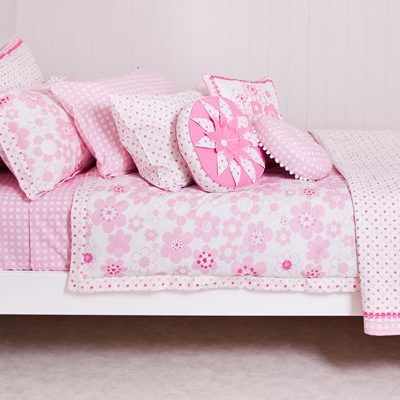 Millie pink floral quilt cover, comforter and cushions