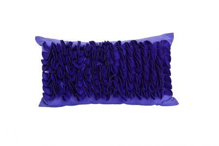 Rectangular purple cushion with scalloped velvet ruffles