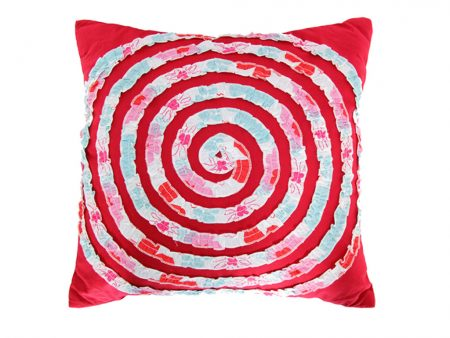Red cushion with Charlotte fabric spiral