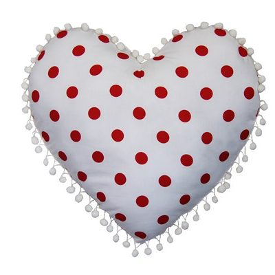 Ruby white heart cushion with red spots and white pompom edging