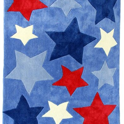 Light blue shortpile rug with blue, red & white stars