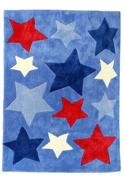 Light blue shortpile rug with blue, red & white stars