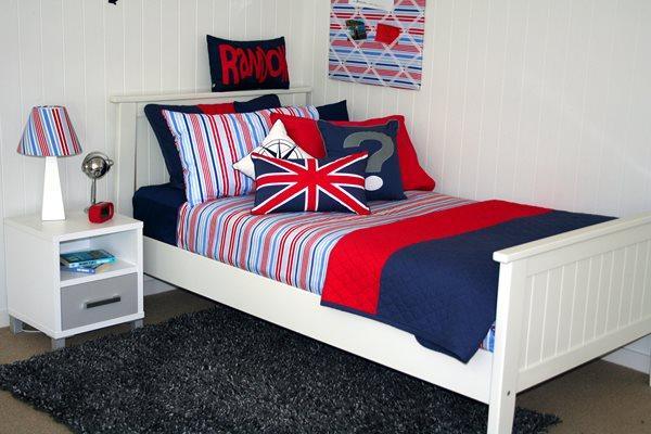 Stripy Sam linen & pinboard, Mariner comforter, charcoal rug. Cushions: union jack, '?' & random