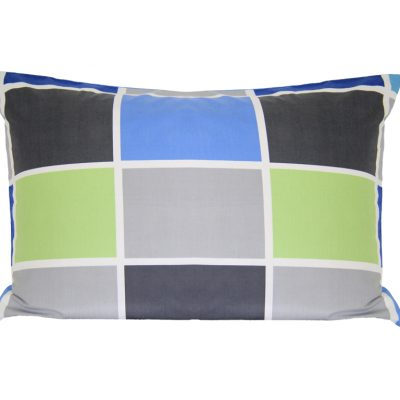 Tom blue, greys and green block pillowcase