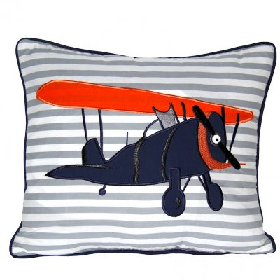 Square grey/white striped cushion with Vintage plane