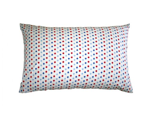 wills star spotty blue red & white cotton pillowcase