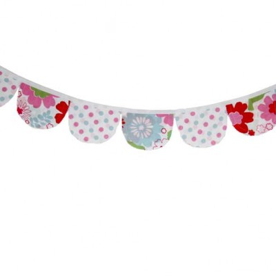 Charlotte red, white, green and blue floral and spotty Bunting