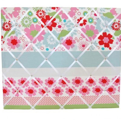 Charlotte red, green, pink and blue Floral and striped Pinboard