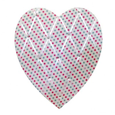 Charlotte pink and blue Spot heart shaped Pinboard