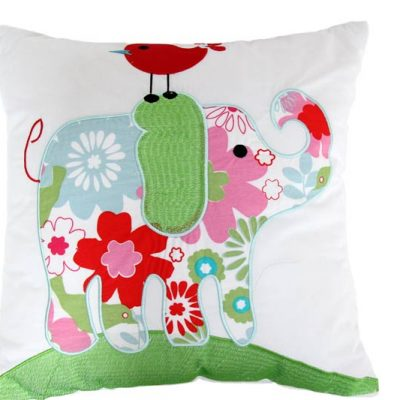 Red, white, pink, blue and green embroidered Elephant Cushion