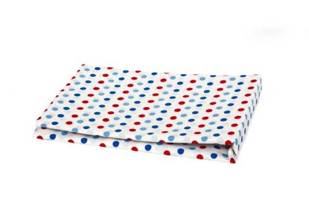 White with red and blue spot Fitted Sheet