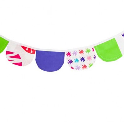 Purple, pink, blue and green Lou Lou Bunting