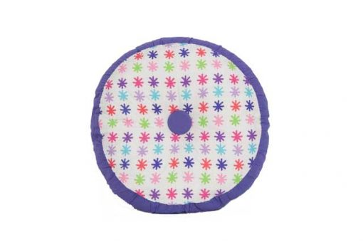 Lou Lou Purple and white cushion with red, pink, green and purple stars