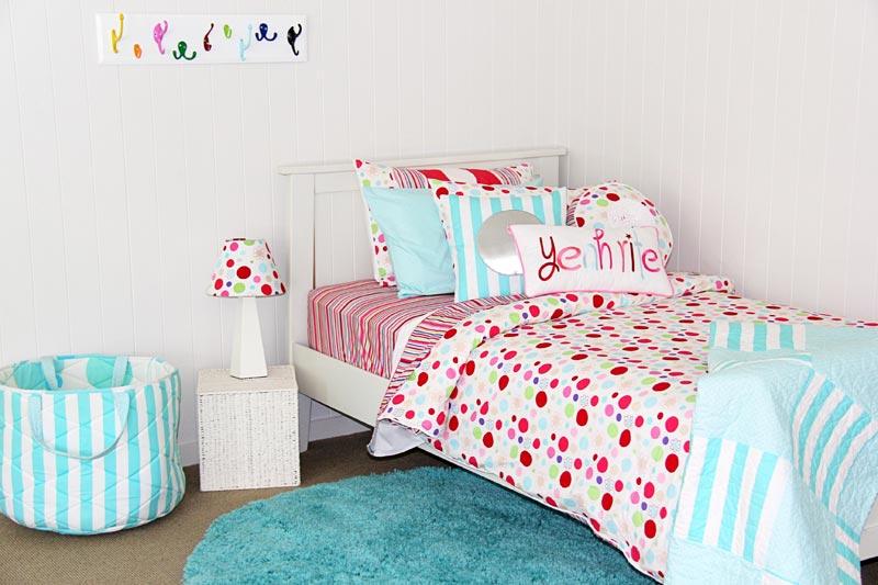 Lucy linen with LOL comforter & aquamarine rug
