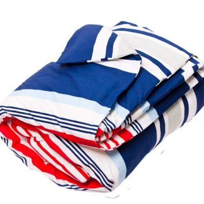 Mariner red, white and blue striped UK Quilt Cover Set