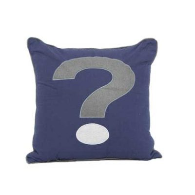 Navy blue cushion with grey and white Question Mark