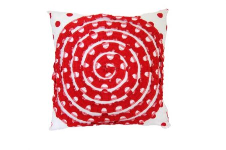 Red and White Ruby Spot Spiral Cushion
