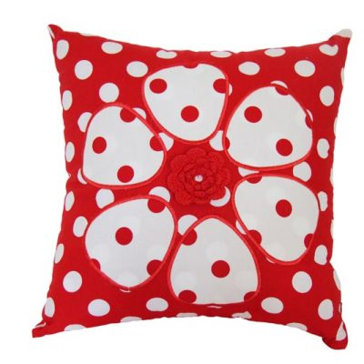 Red and White Spotty Flower Cushion