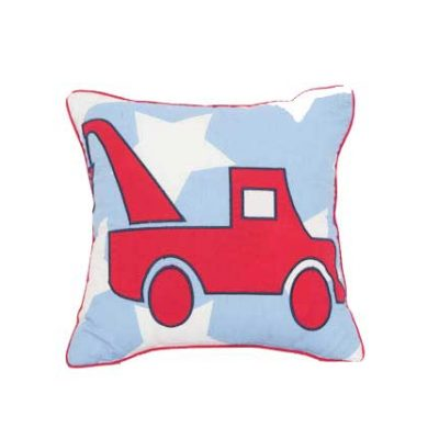Blue and white star cushion with red Tow Truck