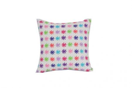 Lou lou white Velvet Trim Square Cushion with pink, purple, lilac and green stars