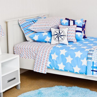 Wills Star Quilt Cover, spot sheeting & compass cushion