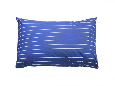 Cobalt Blue pillowcase with white pin stripe