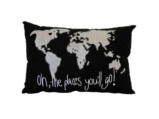 Black cushion with silver world map and Oh the places you'll go wording