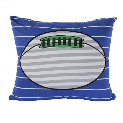 Square blue cobalt cushion with embroidered rugy ball