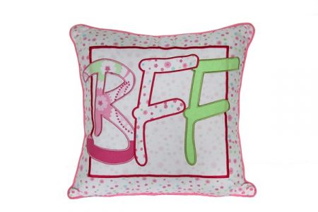 Victoria floral cushion with embroidered BFF lettering
