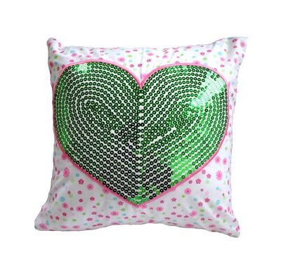 Green Sequin Heart on Victoria floral Cushion