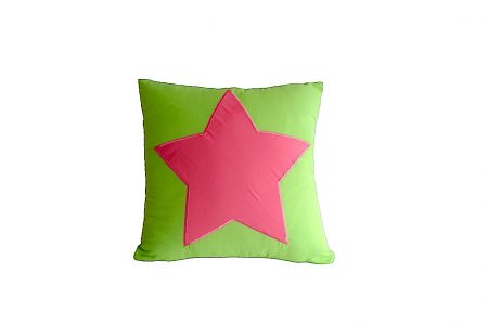 Lime green square cushion with pink star
