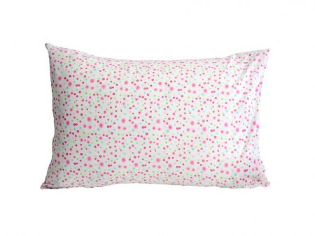 Victoria crisp white pillowcase with pink/green/blue floral design