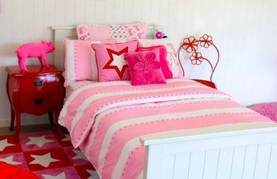 Victoria pink & white quilt cover, velvet flower cushion, Tinkerbell rug