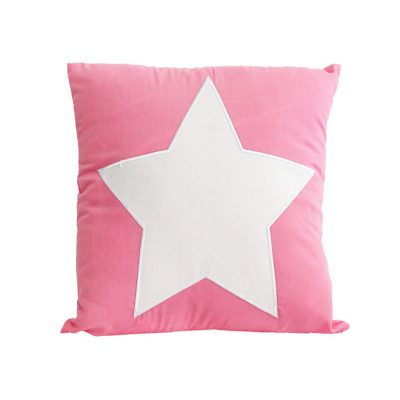 Candy pink cushion with large white star